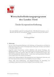 Richtlinie Tiroler Kooperationsförderung - Land Tirol