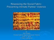 Reweaving the Social Fabric: Preventing Intimate Partner Violence