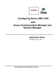 Avaya-G450 PBX Solution Communication Manager - Sonus Networks
