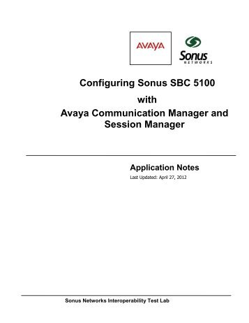 Avaya-G450 PBX Solution Communication Manager - Sonus Networks
