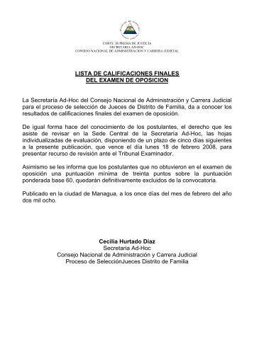 LISTA DE CALIFICACIONES FINALES DEL ... - Poder Judicial