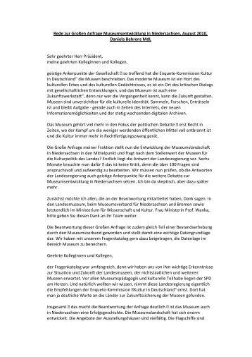Rede zur Großen Anfrage Museumsentwicklung ... - Daniela Behrens
