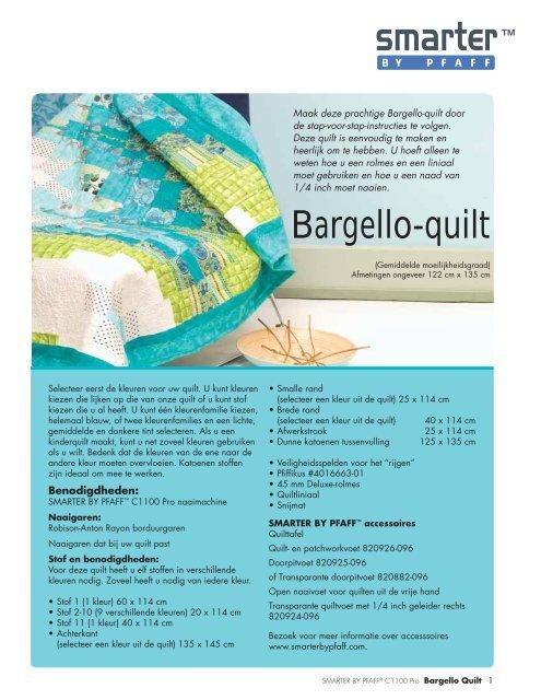 Naai Instructies Voor De Quilt Pdf Smarter By Pfaff