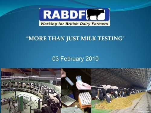 """""""MORE THAN JUST MILK TESTING"""" 03 February 2010"""