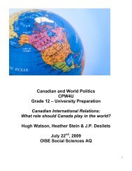 Canadian International Relations - Markville Secondary School