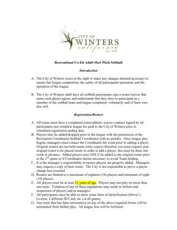 Recreational Co-Ed Adult Slow Pitch Softball ... - City of Winters