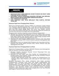 Untuk Disiarkan Segera - Indocement Tunggal Prakarsa, PT.