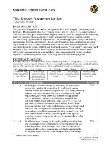 Director, Procurement Services - Sacramento Regional Transit