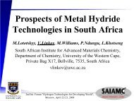 Prospects of Metal Hydride Technologies in South Africa