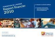 Rapport financier - Fondation de l'Avenir