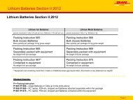 Lithium Batteries Section II 2012 - DHL
