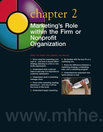 Marketing's Role within the Firm or Nonprofit ... - MHHE.com