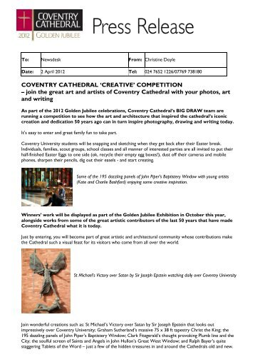 COVENTRY CATHEDRAL 'CREATIVE' COMPETITION – join the ...