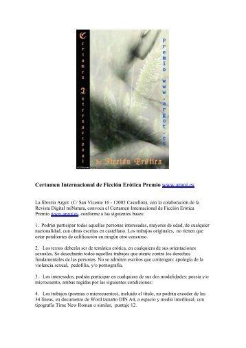 Certamen Internacional de Ficción Erótica Premio ... - servercronos.net