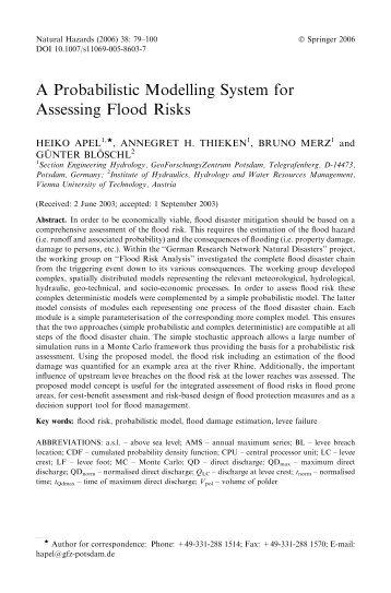 A Probabilistic Modelling System for Assessing Flood Risks