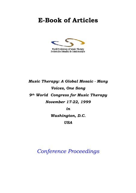 E Book Of Articles World Federation Of Music Therapy