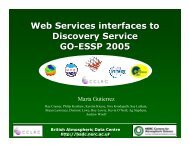 Web Services interfaces to Discovery Service GO-ESSP 2005 Web ...