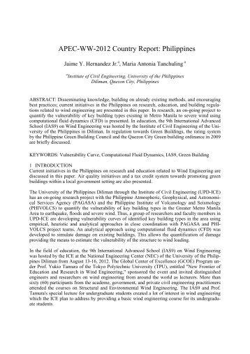 APEC-WW-2012 Country Report: Philippines