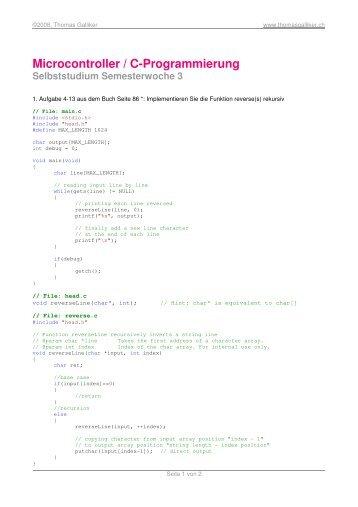 Microcontroller / C-Programmierung - ThomasGalliker.ch