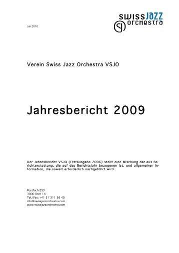 Jahresbericht 2009 - Swiss Jazz Orchestra