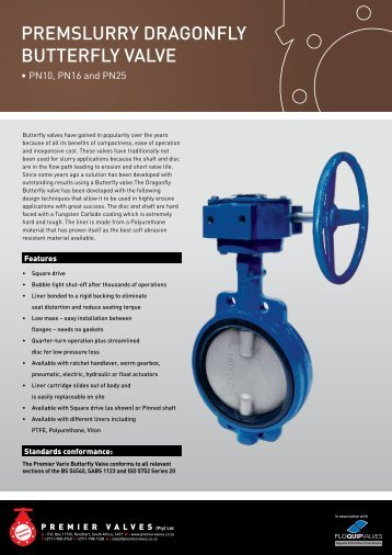 premslurry Dragonfly butterfly valve - Premier Valves