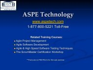 Planning & Tracking at the - ASPE – SDLC Training
