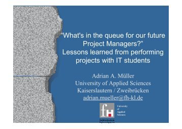 Topics of Student Projects