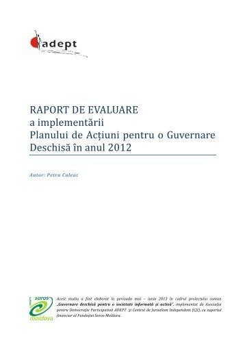 RAPORT DE EVALUARE GUVERNARE DESCHISA 2012 - ADEPT