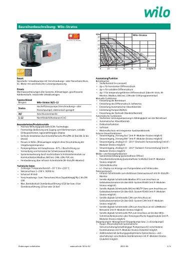 Baureihenbeschreibung: Wilo-Stratos - General Technic