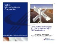 Cabot Microelectronics Corporation - NCCAVS - User Groups