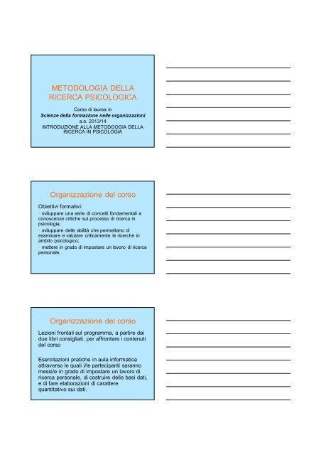 METODOLOGIA DELLA RICERCA PSICOLOGICA Organizzazione ...
