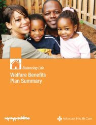 Welfare Plan Summary - Advocate Benefits - Advocate Health Care