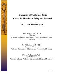 University of California, Davis Center for Healthcare Policy and ...