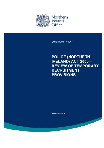 police (northern ireland) act 2000 – review of temporary ... - Gov.uk