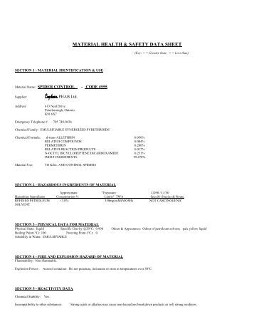 Printables Msds Worksheet msds sheet techni tool for spider control paynes marine group