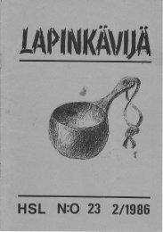 HSL N:O 23 2ltg86 - Helsingin Seudun Lapinkävijät ry