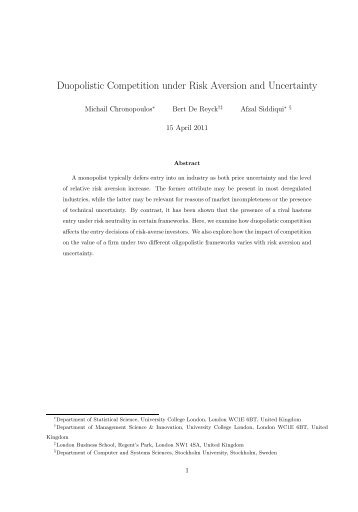 Duopolistic Competition with Risk Aversion under Uncertainty