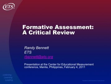 CEM Formative Assessment - A Critical Review - Center for ...