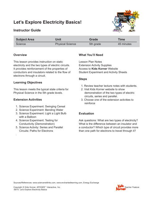 electrical circuit lesson plan 5th grade wiring diagram 5th Grade Class 2014 let\\u0027s explore electricity basics! apogee interactive, incelectrical circuit lesson plan 5th grade