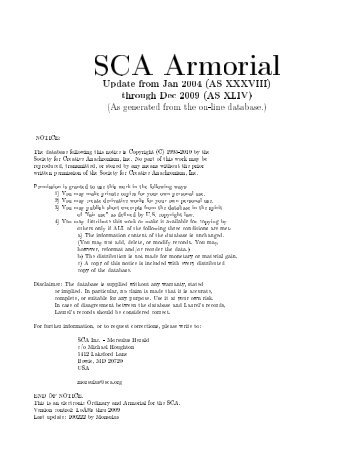 SCA Armorial - West Kingdom College of Heralds