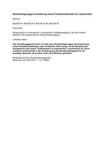 Nachbarklage gegen Erweiterung eines Produktionsbetriebs für ...