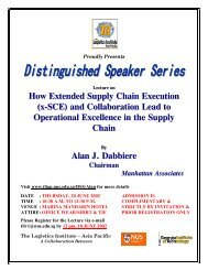 How Extended Supply Chain Execution - The Logistics Institute