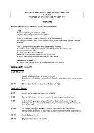 RENCONTRE REGIONALE D'AFRIQUE ... - Fapee.com