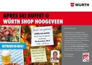 APRÈS Ski BUFFET @ WÜRTH SHoP HoogEvEEn - Würth Nederland