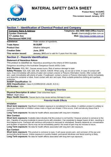 MSDS - CYNDAN Chemicals
