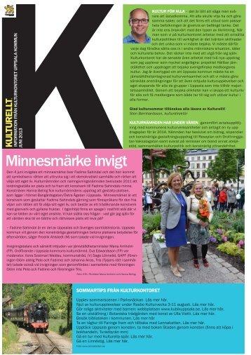 Nyhetsbrevet kulturellt juni 2013 - Uppsala kommun