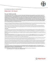 Limited product warranty Makrolon® UV sheet