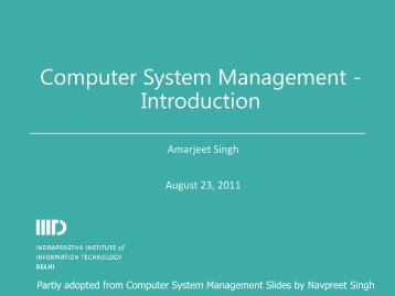 Computer System Management - Introduction - IIIT