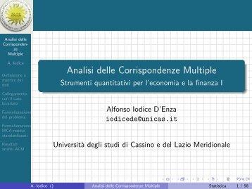 Analisi delle Corrispondenze Multiple - Strumenti ... - Docente.unicas.it