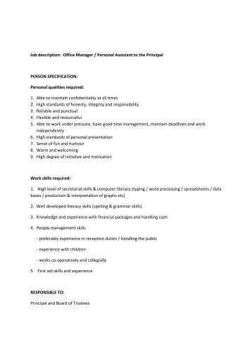 job description office manager personal assistant to the principal - Hairdresser Job Description